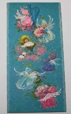 Unused Vintage Greeting Card Christmas Baby Jesus Choir Angel Harp Flowers Halo | eBay