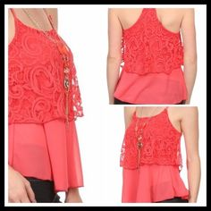 Boho Coral Lace Summer Top Brand new with tags. Coral lace and sheer chiffon layered racerback cami tank. Comes with detachable necklace. S, M , L available. Please ask all your questions before you purchase! I am happy to help! Sorry, no trades. Please, no lowball offers. Happy Poshing! Miley + Molly Tops Blouses