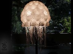 This printed jellyfish lamp shade is comprised of two parts: A. The Jellyfish top - the body of the Jellyfish, and B. the Tentacles. Jellyfish Light, Ikea Lamp, Latest Design Trends, Math Art, 3d Prints, Creative Decor, Lamp Shades, 3 D, Printing