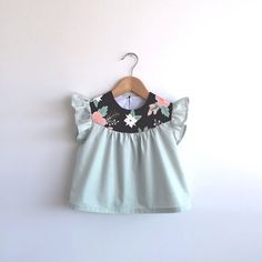 girls pale mint cotton blouse with floral detail by SwallowsReturn