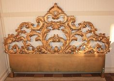 FANCY Vintage CARVED WOOD Rococo Style Hollywood Regency King Size Headboard Bed