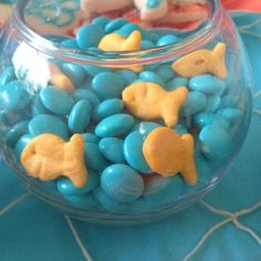 """This is for an """"Under the Sea"""" Baby shower. But, I'd use it for """"Bubble Guppies"""" party. Baby Shower Themes, Baby Boy Shower, Ocean Theme Baby Shower, Pirate Baby Shower Ideas, Baby Shower Snacks, Fete Emma, Bar A Bonbon, Bubble Guppies Birthday, Mermaid Baby Showers"""