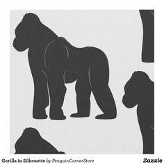 Shop Gorilla in Silhouette Fabric created by PenguinCornerStore. Godzilla Birthday, Cardboard Animals, Animal Templates, Cardboard Sculpture, Simple Line Drawings, Animal Silhouette, Scroll Saw Patterns, African Animals, Safari Animals