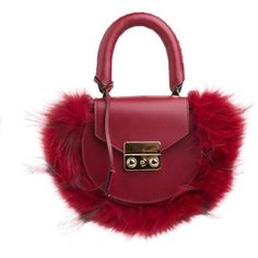 "SALAR ""Mimi Mini"" Leather And Fox Fur Bag (2 180 PLN) ❤ liked on Polyvore featuring bags, handbags, shoulder bags, leather shoulder bag, leather handbags, chain shoulder bag, red purse and red leather shoulder bag"