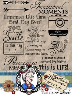 Project Life 1 inspired Word Art, Journaling, Photography Overlay, Digital Stamp, Scrapbook, Instant Download  ID:NV-WA0047 By Nana Vic