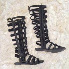 Glaze Shoes - Black Knee High Caged Gladiator Sandals  on Poshmark
