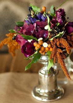 Wedding Ideas: garden-dark-flower-centerpiece love it for my jewel-tone wedding