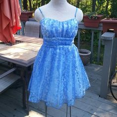 HOME COMING PARTY DRESS Great condition only worn once. Prom or dance.  Blue with silver accents. Lace with 2 layers under. Emerald Sundae Dresses