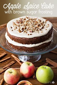 Apple Spice Cake with Brown Sugar Frosting: Perfect for fall! #howdoesshe #applecake #cake #dessert