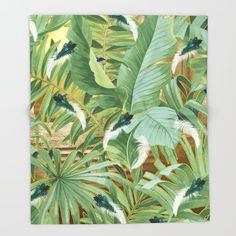 Golden Royal White and Blue-green Peacock Feathers Throw Blanket by justkidding #ThrowBlanket #graphicdesign #leaves #peacockfeathers #green #darkgreen