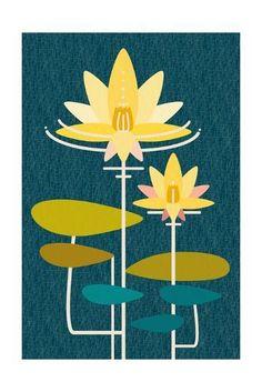 'Scandinavian Lotus (Blue)' Posters - | AllPosters.com Kitchen Artwork, Japanese Quilts, Watercolor Feather, Blue Poster, Wall Art For Sale, Flower Images, Blue Art, Hanging Art, Framed Artwork
