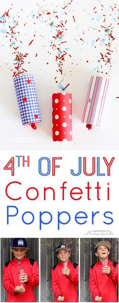 DIY Confetti Poppers for 4th of July - easy 4th of July Kids Craft, and a great alternative to sparklers for the tiny tots! Happiness is Homemade