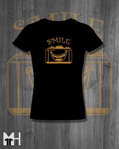 Smile for the Camera Funny T shirt Picture Tee Plus by MindHarvest