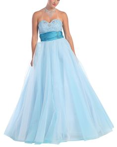 Long Blue Jeweled Pageant Ball GownLong Jeweled Ball Gown in Light Blue Tulle and Satin