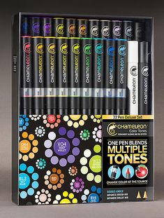 Take control of your color with the Deluxe Marker Set by Chameleon Art Products Inc. These markers from the Chameleon Color Tones Collection give you the power Chameleon Color, Blender Pen, Marker Pen, Pen Sets, Copics, Color Card, Gel Pens, Craft Supplies, School Supplies
