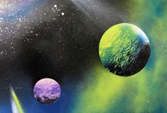 Learn the secrets of spray paint art and paint a space scene in 5 minutes! Step by step tutorial with lots of photos!I've seen this done in CA and wondered how they did these spray paintings Spray Paint Artwork, Diy Spray Paint, Spray Painting, Galaxy Spray Paint, Painting Art, Watercolor Flowers Tutorial, Easy Watercolor, Art Galaxie, Affinity Photo