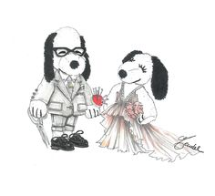 """Snoopy & Belle """"J. Mendel doesn't design men's clothing, so I decided to turn Snoopy into a mini Gilles! Like me, he's wearing a tailored Thom Browne suit, and – of course – my signature black rimmed glasses. I decided to dress Belle in a classic J. Mendel silk mousseline pleated gown. It's ultra-feminine, light, and diaphanous, with a sense of movement and effortless glamour. Iconic J. Mendel.""""- Gilles Mendel"""