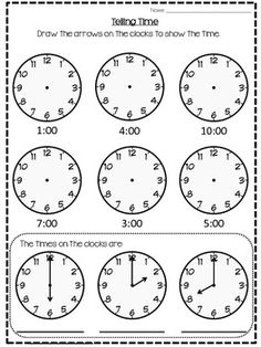 Draw hands on the clock face to show the time - 4 Worksheets ...