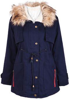Navy Fur Hooded Long Sleeve Drawstring Coat US$47.54