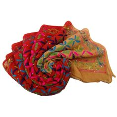Vintage Phulkari Dupatta Women Wrap India Stole by queensclub, $21.99