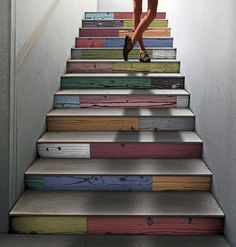 via Design Milk: Italian company 14 Ora Italiana has a collection of wood grain porcelain tiles that were inspired by the works of Andy Warhol. The Uonuon line comes in fourteen colors that are featured on this colorful and fun staircase. Tiled Staircase, Modern Staircase, Staircase Design, Tile Stairs, Staircase Ideas, Staircase Spindles, Stair Design, Painted Stairs, Wood Stairs