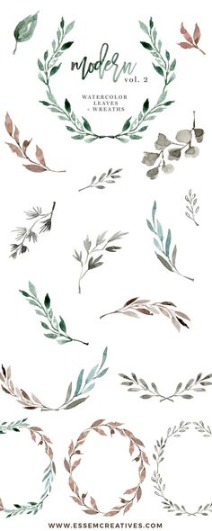 Watercolour Wreath Clipart, Watercolor Leaves Clipart, Floral Clipart, Wedding Clipart, Eucalyptus Branch, Ginkgo Leaf, Watercolor Leaf Logo, Greenery clipart, Romantic, elegant, fall, autumn, winter wedding invitations, DIY stationery, These leaves, branches & wreaths are perfect for designing modern minimalist wedding invitations (actually any kind of invitations!), welcome signs, logos, art prints, logos & branding, websites, packaging, etc.>> #weddingstationery