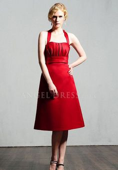 Halter Sleeveless A line Zipper up Knee Length Satin Bridesmaid Gown