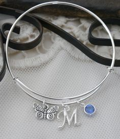 Butterfly Bracelet Butterfly Bangle Personalized by MadiesCharms
