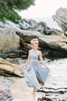 Pastel blue bridesmaid dress | Origami Creatives | see more on: http://burnettsboards.com/2014/04/beach-goddesses/