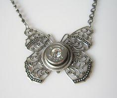 Bullet Jewelry Necklace Bullet Casing Silver Colt by MySmallEscape Butterfly Pendant, Butterfly Necklace, Butterfly Wings, Shotgun Shell Jewelry, Shotgun Shells, Bullet Earrings, Bullet Jewelry, Diy Jewelry, Jewelery