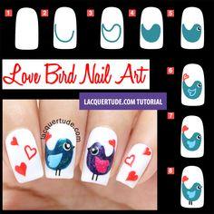 Tutorial: Valentine's Day Love Birds Nail Art