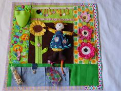 Bright and Bold Gardener  - Fidget Quilt- Tactile - Bright & Colorful- Fun for Alzhiemer Patients