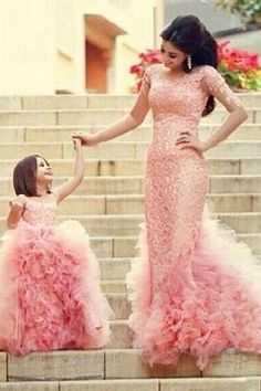 Mother Daughter Dresses, Mother Daughter Matching Dresses, Pink Prom Dress, Party Dresses 2016, Lace Prom Dress, Elegant Prom Gowns, Cheap Formal Dresses, Long Prom Dresses, Flower Girl Dresses, Pageant Dresses
