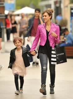 Jessica Alba and Daughter Honor: Mommy and Me Leather Jackets!
