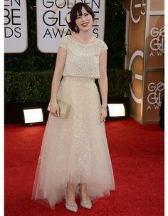 Zooey Deschanel en Oscar de la Renta -  Golden Globes 2014 - Elle