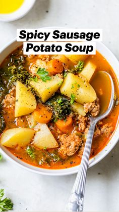 Whole Food Recipes, Dinner Recipes, Cooking Recipes, Healthy Recipes, Whole30 Recipes, Dinner Soups, Lunch Recipes, Sausage Potato Soup, Spicy Sausage