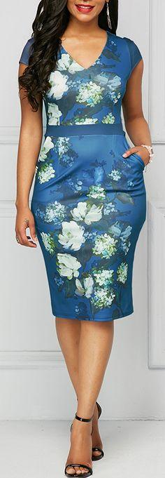 Printed V Neck Cap Sleeve Sheath Dress