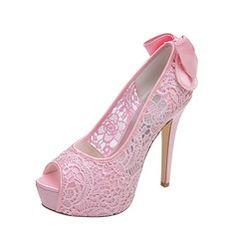 Wedding Shoes - $62.99 - Women's Lace Stiletto Heel Peep Toe Platform Pumps Sandals With Bowknot  http://www.dressfirst.com/Women-S-Lace-Stiletto-Heel-Peep-Toe-Platform-Pumps-Sandals-With-Bowknot-047053933-g53933