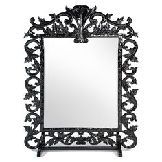 """Royal Carved Mirror Black on Rent for Special Events & Parties in NYC  Features: 1. black lacquered finish 2. Dimensions: 68""""L x 17""""D x 84""""H"""