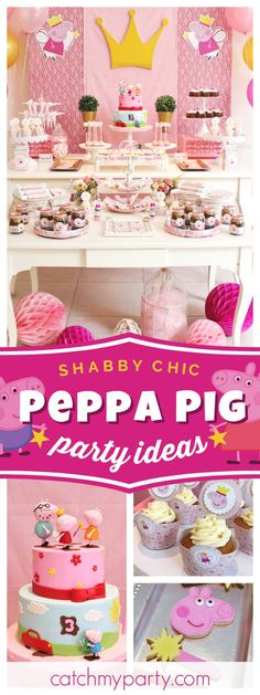 Check out this amazing Peppa Pig Shabby Chic birthday party! The dessert table and decor are fantastic!! See more party ideas and share yours at CatchMyParty.com #peppapig #shabbychic #girlbirthday