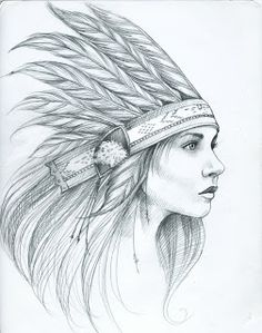 Amandalynn: Feather Ladies Indian feather head dress woman lady Tattoo Flash Art ~A.R.