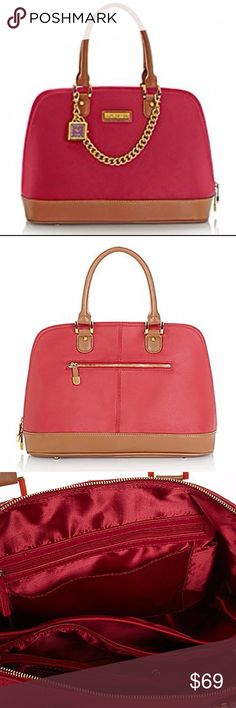 ⚡SALE⚡ NWOT Genuine Leather Structured Satchel BNWOT Sangria red large dome satchel in genuine pebbled leather. Contrasting smooth leather used on bottom & double rolled handles. Goldtone hardware w/ matching working watch & detachable chain. Feet to protect the leather bottom. Extra wide opening w/ side to side zipper & real leather pulls. Satin interior. 5 compartments, credit card slots & pockets to organize your life. Approx 14.5 in L, 7 in W & 11 in H w/ 6.5 in handle drop. I always…
