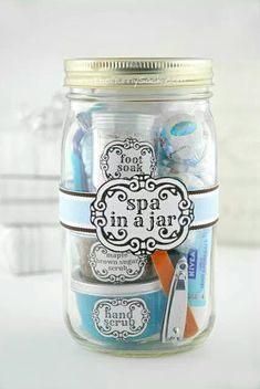 "Click the link for other ""gifts in a jar"" ideas. SO clever!! Scroll the page to see how she did the little containers to hold the products. Ingenious."