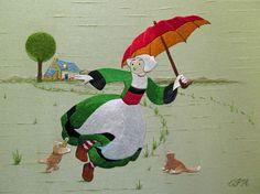 Bécassine :: cithare Peinture à l'aiguille aux fils de soie réalisation : Christiane Plamondon Hallé