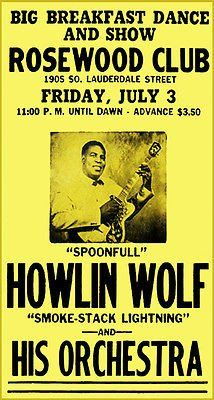 Howlin' Wolf - Rosewood Club - 1959 - Concert Poster