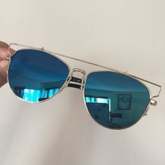 ⭐️BLUE MIRROR SUNGLASSES ⭐️ ⭐️WIRE MIRROR SUNGLASSES⭐️  Brand new !  Trendy for summer 2016!  Blue mirror with gold frame 100% uv protection   no trades Accessories Sunglasses