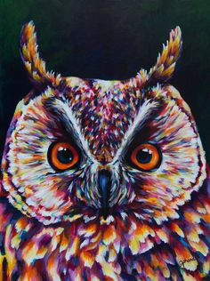 Long-Eared Owl, 12x16 inches, Acrylic on Masonite by Claudelle Girard