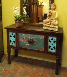 Old Painted Door Console Cabinet at GadoGado.com.  Indonesian / Bali Furniture