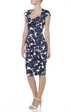 Cocktail - APRIL IN PARIS SWEETHEART NECK FITTED COTTON DRESS IN BLUE WHITE FLORAL