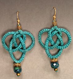 Josephine Knot Earrings : Free micro macrame earrings pattern ( pattern is in pdf format,just click link to download)